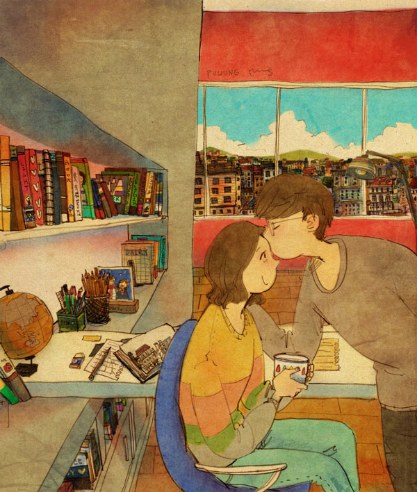Grafolio (Puuung) draws forehead kissing