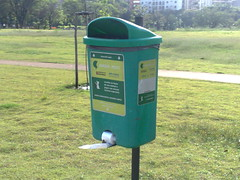waste container, green, lawn,