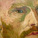 van Gogh, Self-Portrait Dedicated to Paul Gauguin, detail of face