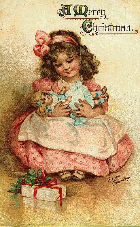 Vintage victorian little girl with baby doll christmas for Retro images