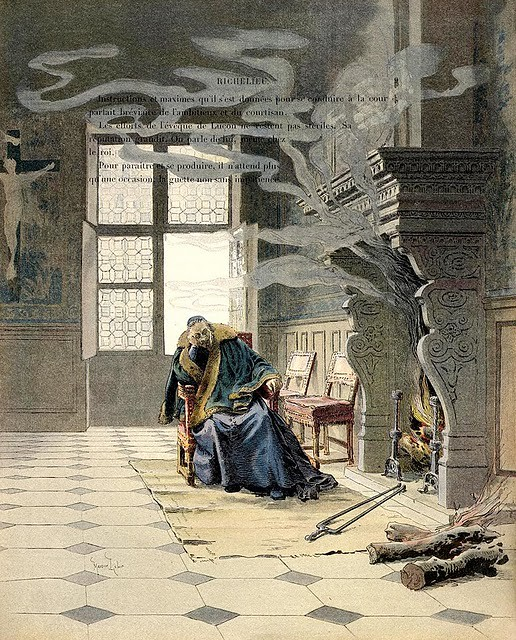 Maurice Leloir, Richelieu and the Smoke (1902 book illustrations 'Richelieu' by Théodor Cahu )