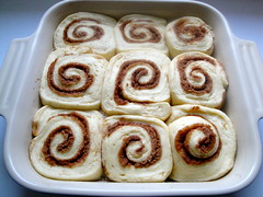 Cinnamon rolls, risen