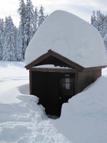 Snowshoeing in Yosemite (outhouse)