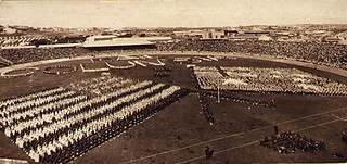Visit of American Fleet to Sydney : public schools display, Sydney Cricket Ground, 26th Aug, 1908 / photographer G.A. Hills