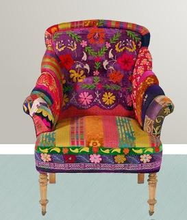 Vintage sari fabric recycled nomadic decorator for Sari furniture designer