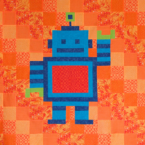 Robot baby quilt top by ChelseaWa, on Flickr