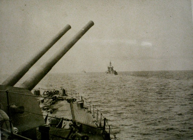 THE PACIFIC WAR: HMAS SHROPSHIRE in Line Ahead with U.S. heavy units. Collection of Alan Meade, RAN 1943-1946.