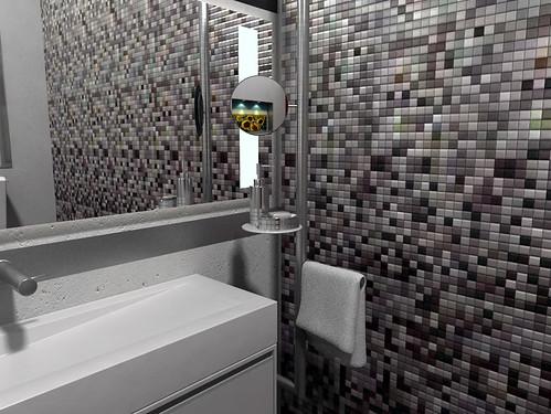 Accesorio en acero inoxidable para ba o toallero y espejo for Set bano toallero