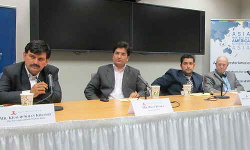 Pictured here left to right: Mr. Khalid Khan Kheshgi, Mr. Riaz Burki, Mr. Jeeyand Kashif Sajidi, and Dr. Marvin Weinbaum (Discussant).