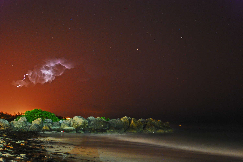 Lightening, Long Exposure, Beach