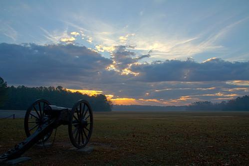 park sunrise civilwar cannon battlefield hdr chickamauga