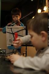 nick performs a violin recital while sequoia eats hi…