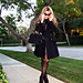 vintage coat+vintage bag+cat eye sunglasses+grid tights+ankle boots+pf