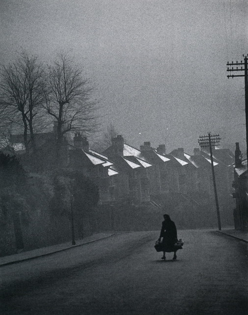 In Swansea, Wales, the fog comes in over the chimney pots, by Carl Mydans ca 1950s