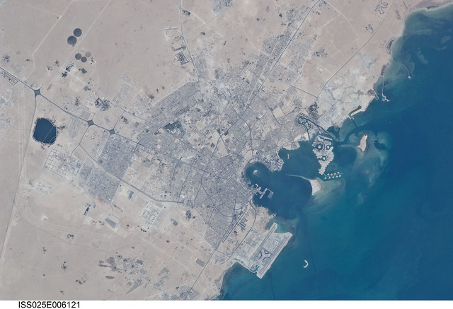 Doha City, Doha Bay, State of Qatar and the Persian Gulf ...