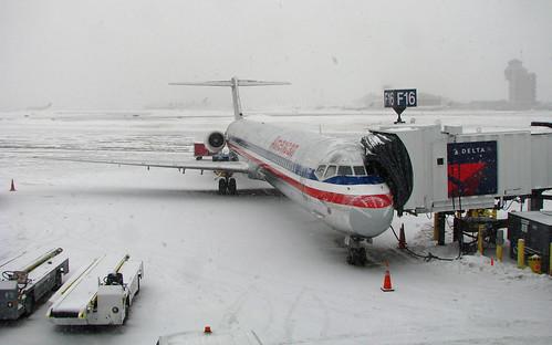 Snowy American MD-80