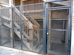 outdoor structure(0.0), dog crate(0.0), stall(0.0), animal shelter(0.0), handrail(1.0), cage(1.0),