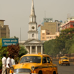 Classic Kolkata Cab and Street Scene - West Bengal, India