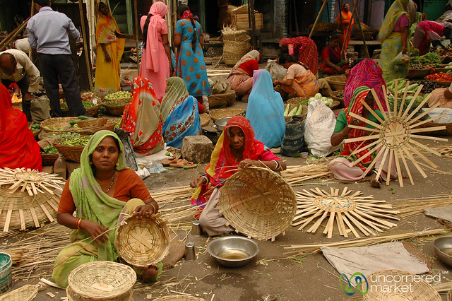 Weaving Baskets at the Market - Udaipur, India