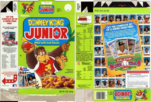 1984 Donkey Kong Jr Cereal Box w Super-Stars Baseball Cards