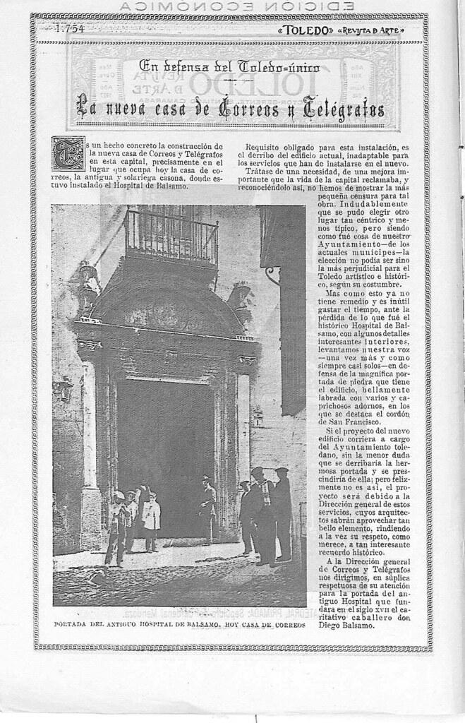 Fachada del Hospital de Bálsamo hacia 1927. Fotografía publicada en noviembre de ese año en la Revista Toledo