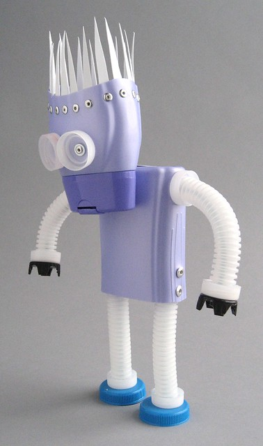 plastibot #1 - found object plastic assemblage robot by Brian Marshall 2