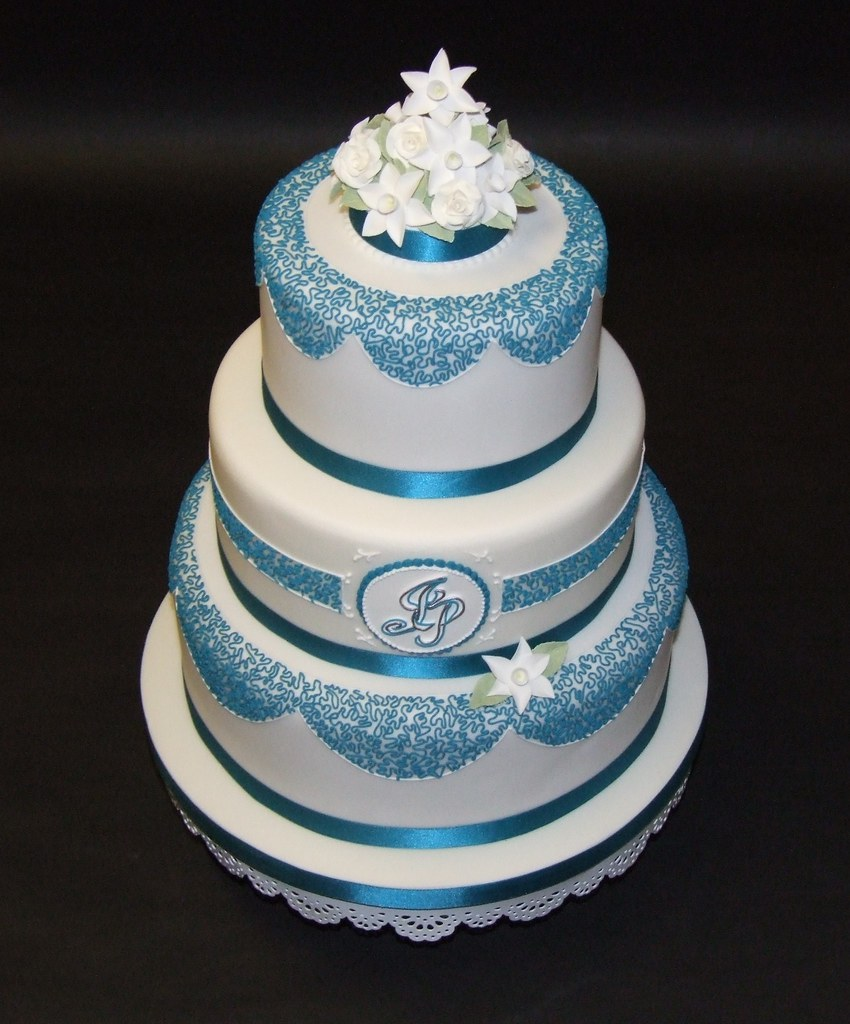 Teal and Cornelli Wedding Cake 2