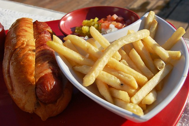 bacon wrapped hot dog | Flickr - Photo Sharing!