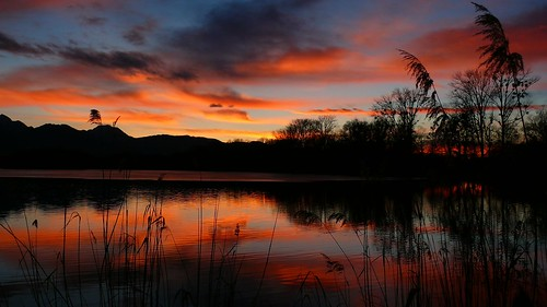 sunset red sky orange lake alps rot clouds see sonnenuntergang himmel wolken alpen afterglow abendrot