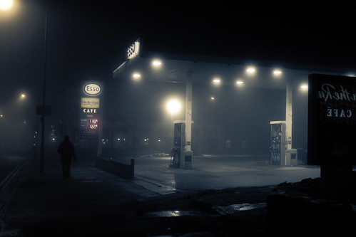 Petrol station in the mist