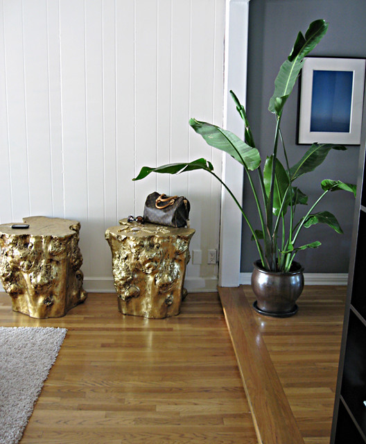 Tree Stump Coffee Table Diy: Golden Stumps Side Tables+gold Stools