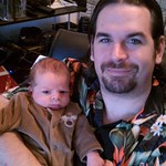 Dec. 25th - Christian and papa dressed and ready for Xmas with the families.