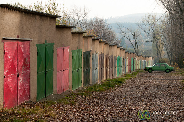 Colorfully Painted Garage Doors - Mníšek pod Brdy, Czech Republic