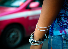 pink and blue with bangles