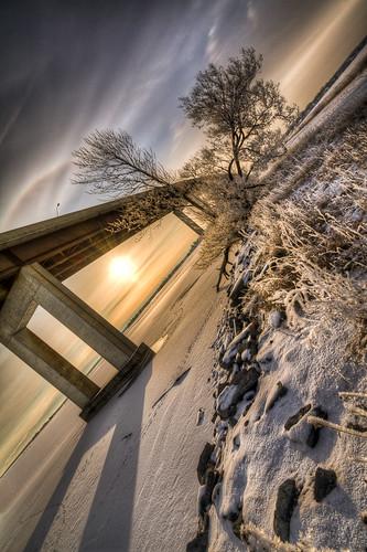 bridge winter snow sunrise bay belleville hdr quinte