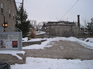 Elora's Grand River Lookout on Mill St. West in Winter, Elora Ontario Canada