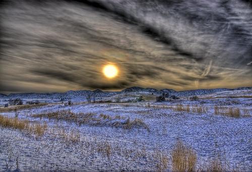 sunset sun lake snow nature grass clouds landscape colorado denver chatfield 201101