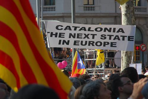 Pancarta a favor de Cataluña como nuevo estado europeo