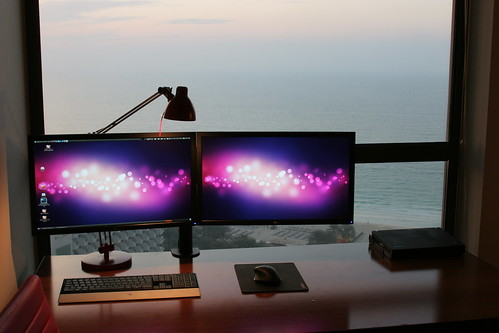 Desk at sunset
