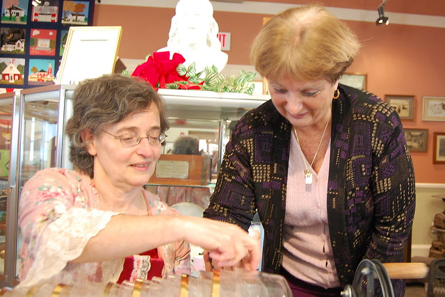 Vera Meyer and Town Clerk Debbie Pellegri in 2011