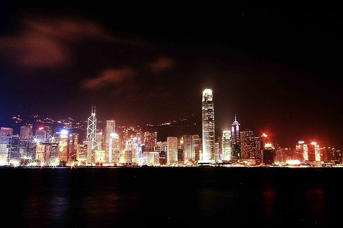 the skyline of Hong Kong island at night