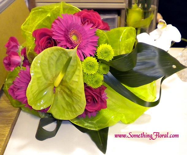 anthuriumgerberarosebouquet A contemporary fresh floral bridal bouquet
