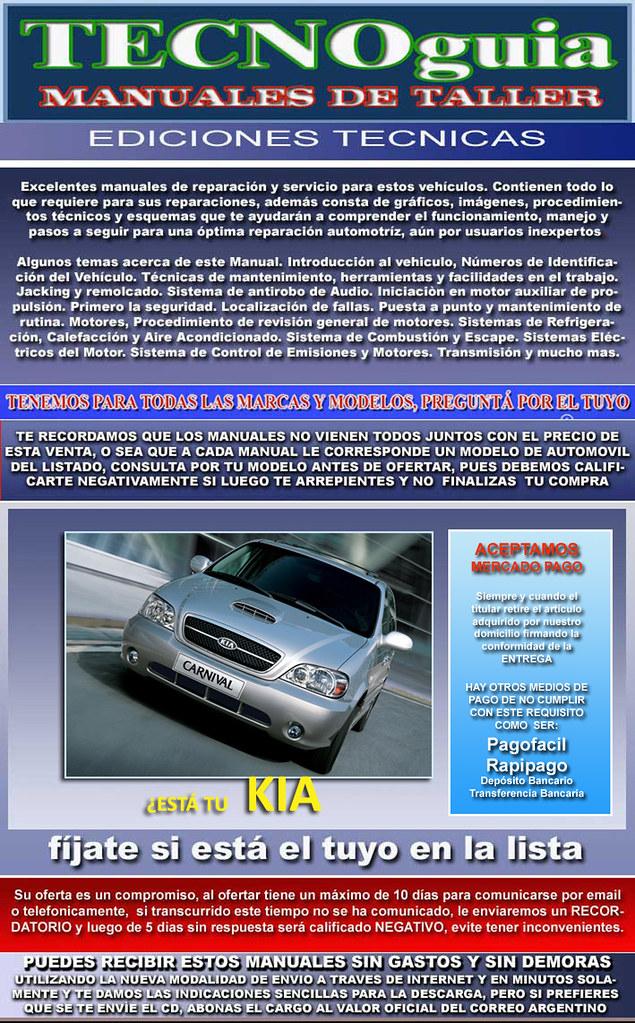 manuales de taller kia con envio sin cargo por internet en el dia 6151634 disponible en bs Kia Optima Kia Cerato