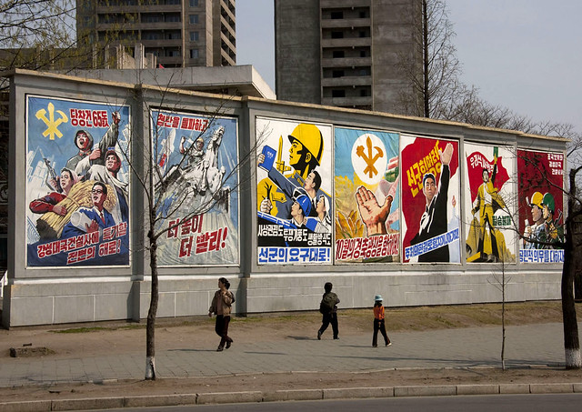 Propaganda posters in Pyongyang North Korea