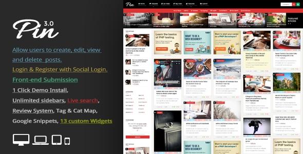 Pin v3.4 – Pinterest Style / Personal Masonry Blog