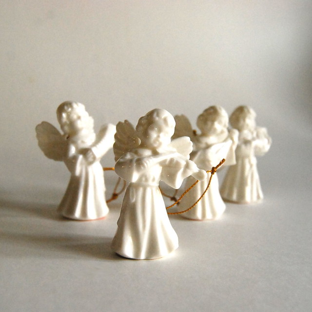Vintage Porcelain Christmas Angel Ornaments from Gift World of Gorham