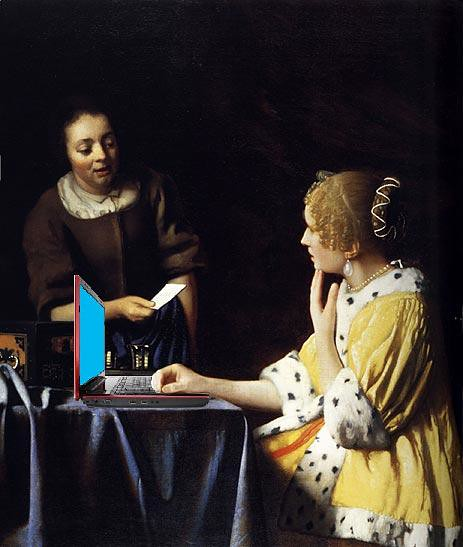 Lady Blogger with Her Maid, after Vermeer