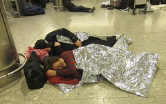 Sleeping under foil blankets - Terminal 4 London Heathrow snow