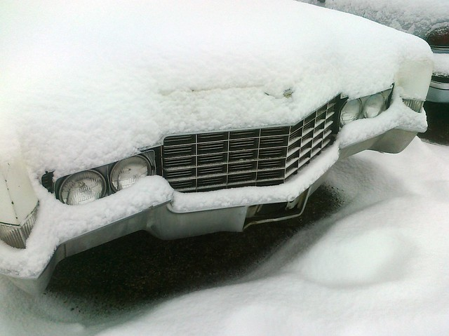 Snow-covered Caddy