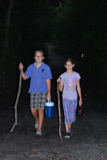 Children learn a lot on family travel trips.  The night hike at First Landing State Park was lots of fun for my daughter and her best friend.